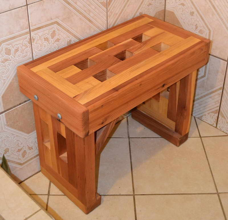 Image of: shower bench cedar