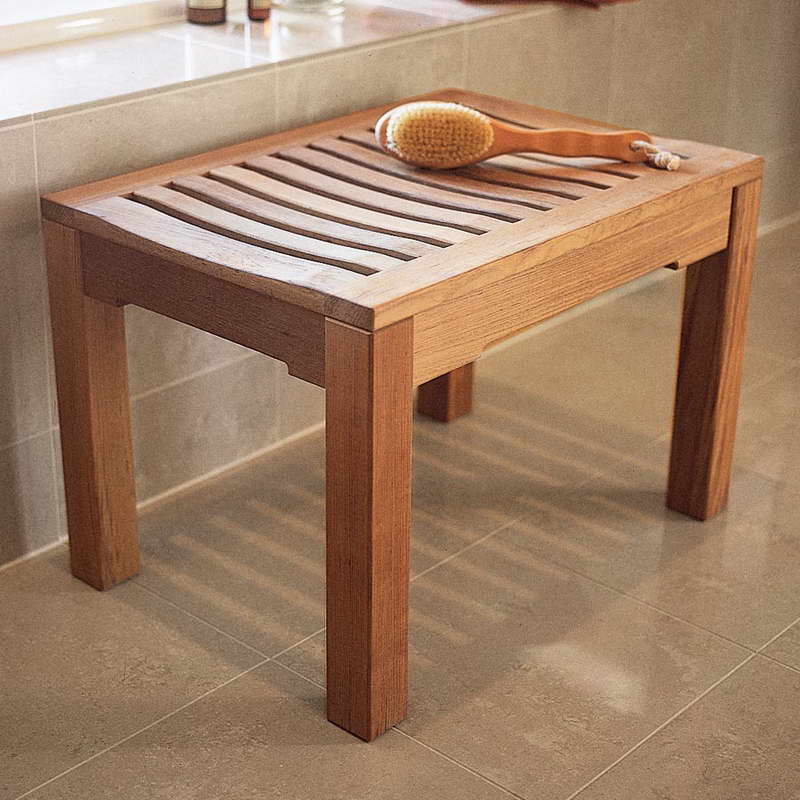 Image of: shower bench wood