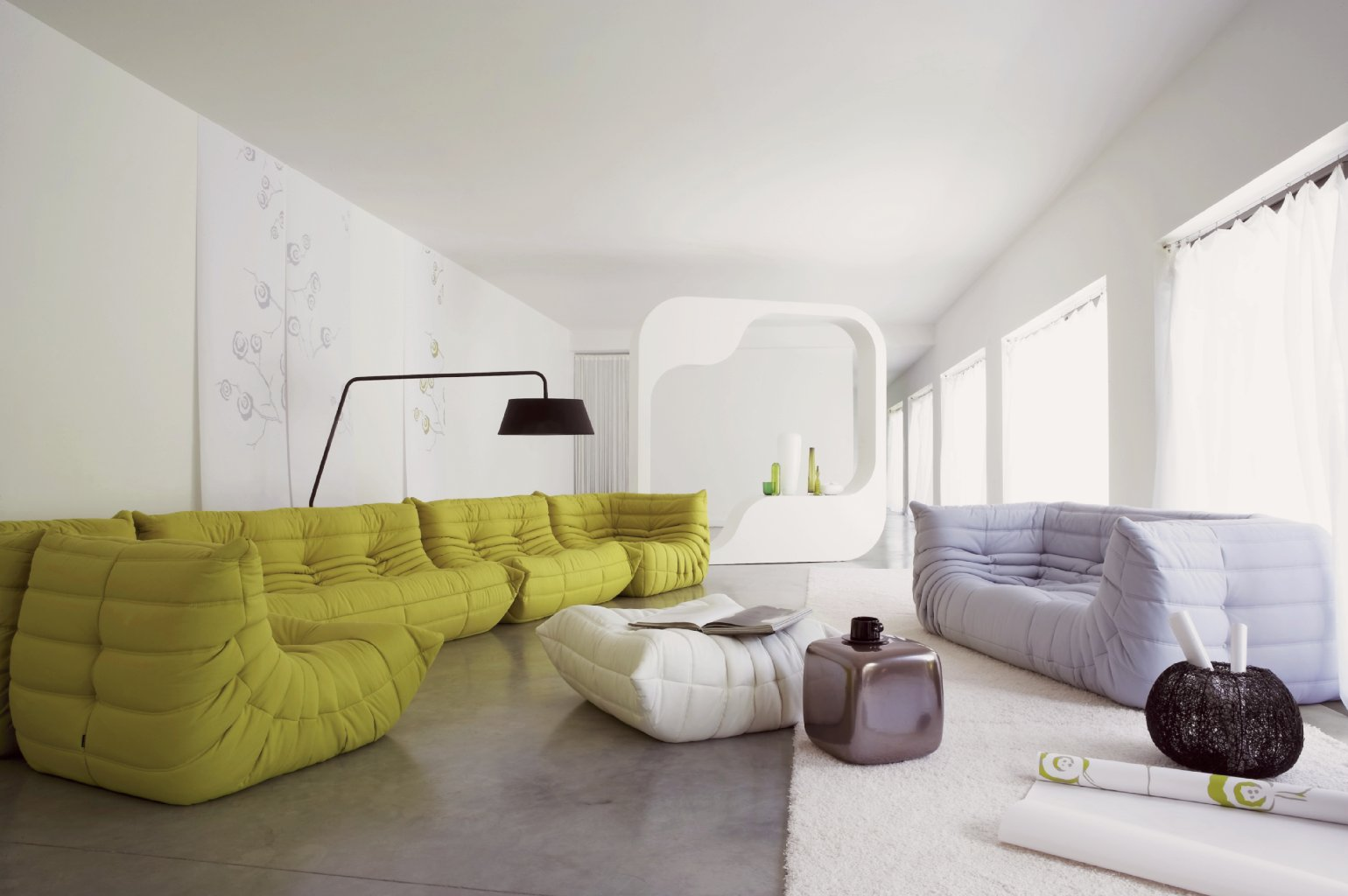 Image of: soft green togo sofa