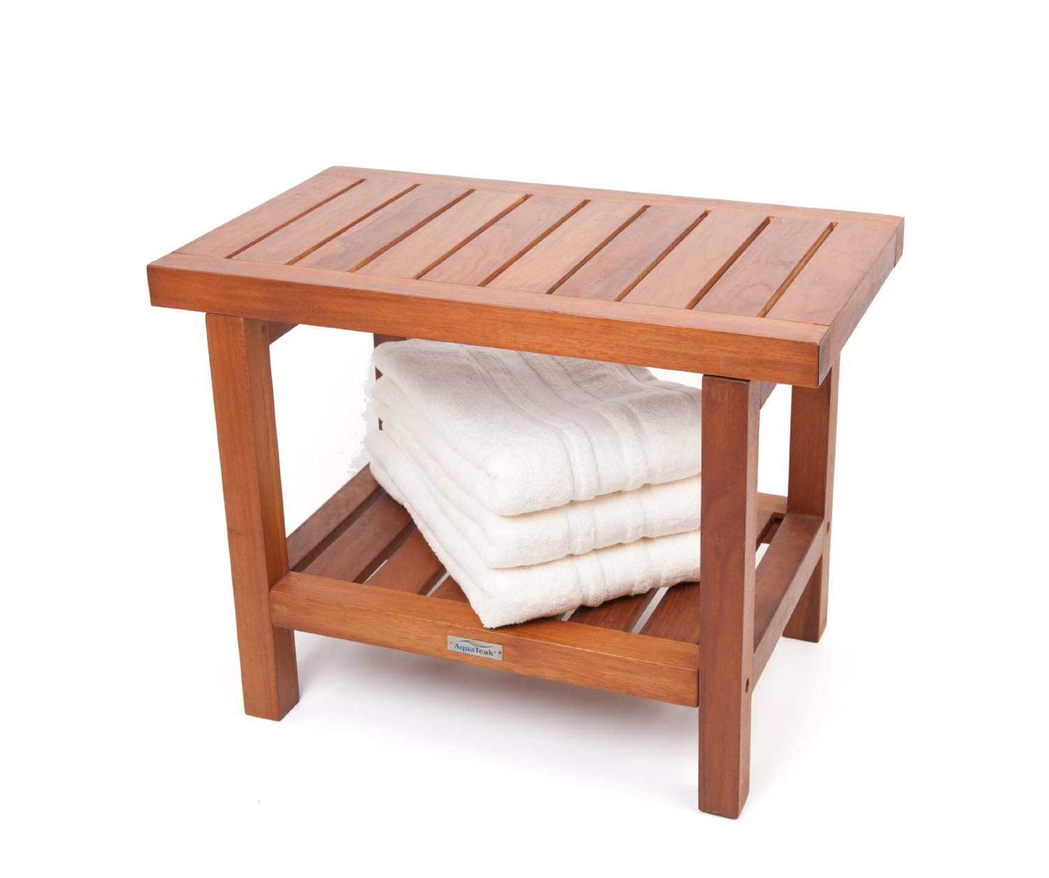Image of: teak shower bench