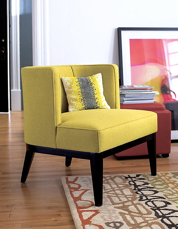 Image of: traditional yellow accent chair