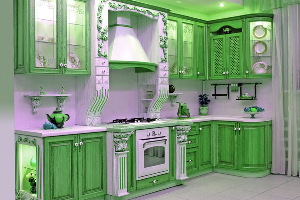 Image of: two tone kitchen cabinets green image