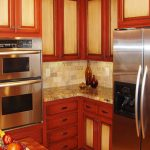 two tone kitchen cabinets red color