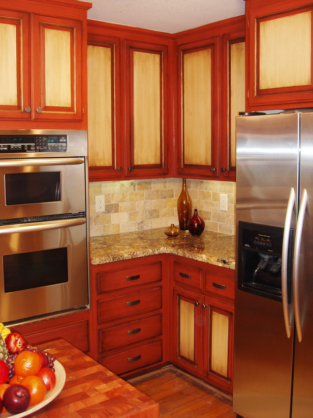 Image of: two tone kitchen cabinets red color