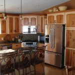 two tone rustic kitchen cabinets