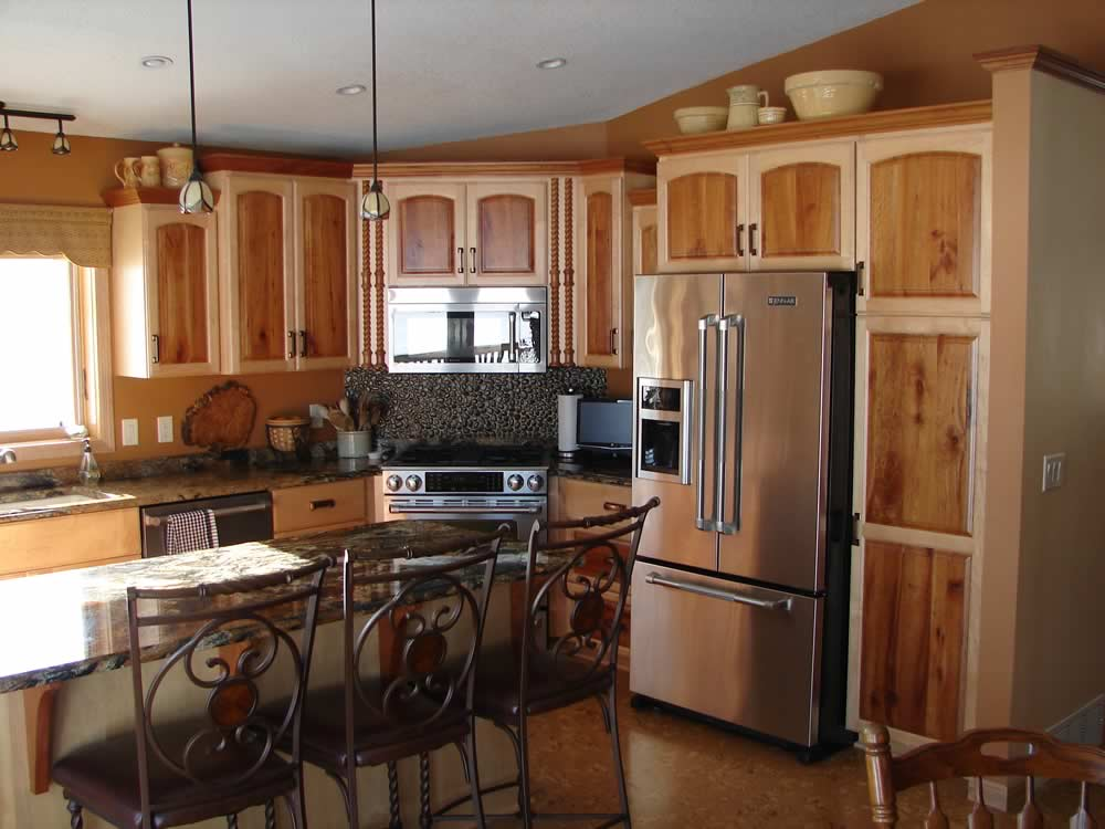 Image of: two tone rustic kitchen cabinets