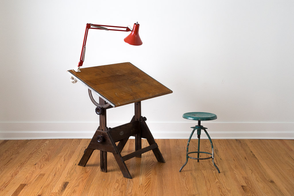 Picture of: vintage drafting table with light and chair