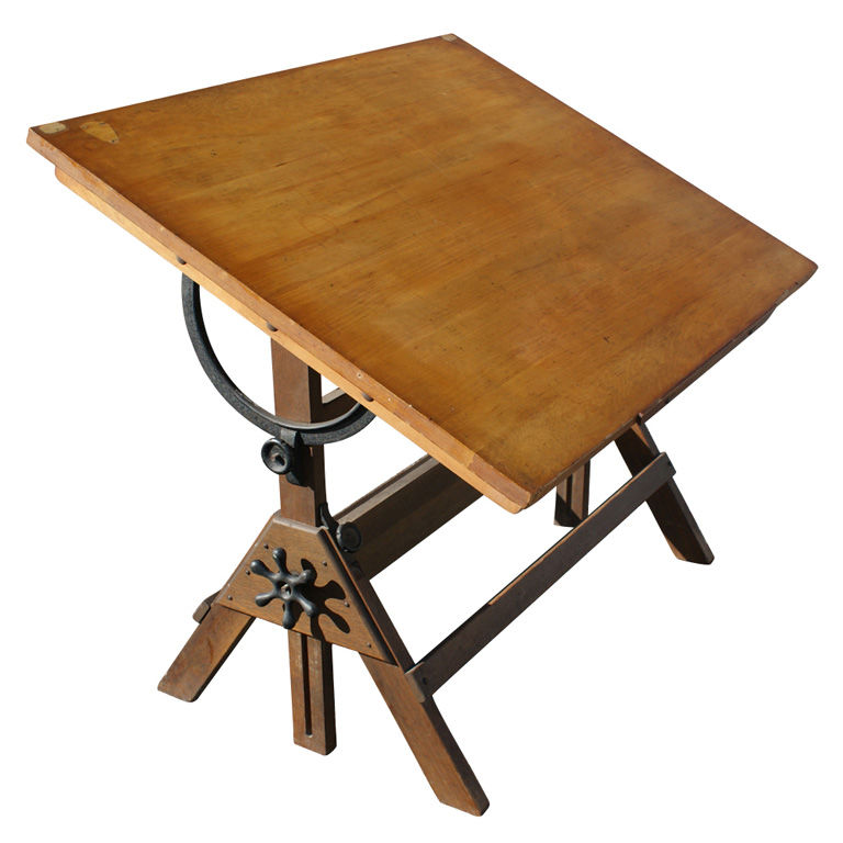 wood vintage drafting table