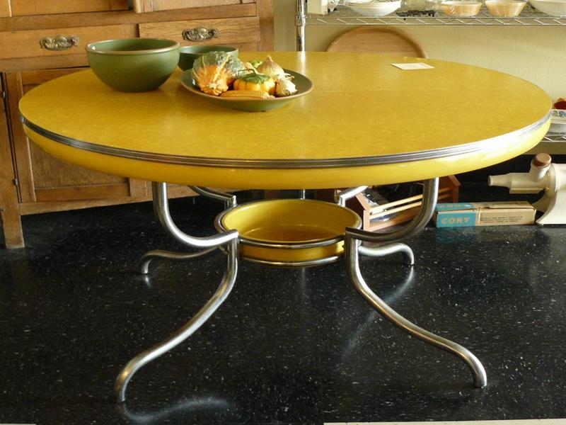 Image of: yellow Retro Kitchen Table