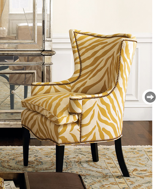 Image of: zebra yellow accent chair
