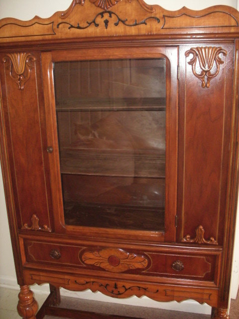 Image of: Antique china cabinet photo