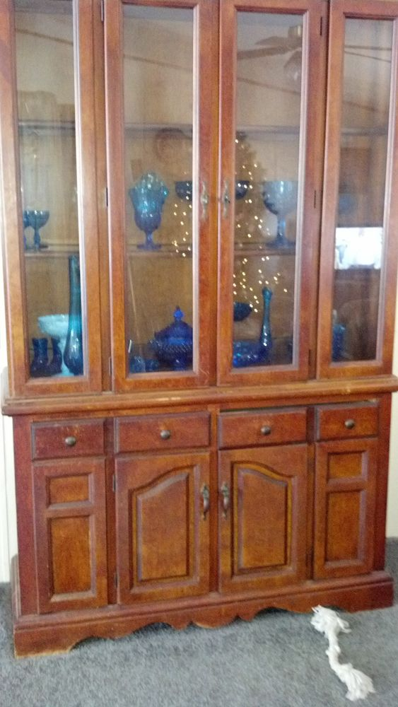 Image of: Antique china cabinet size