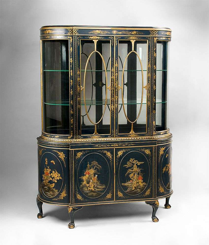 Image of: Open antique china cabinet