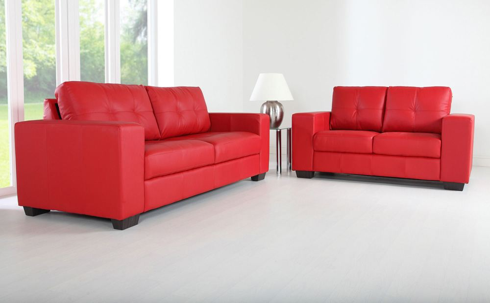 Picture of: Porto red leather sofa