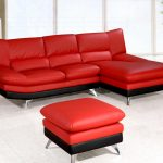 Red leather sofa and ottoman