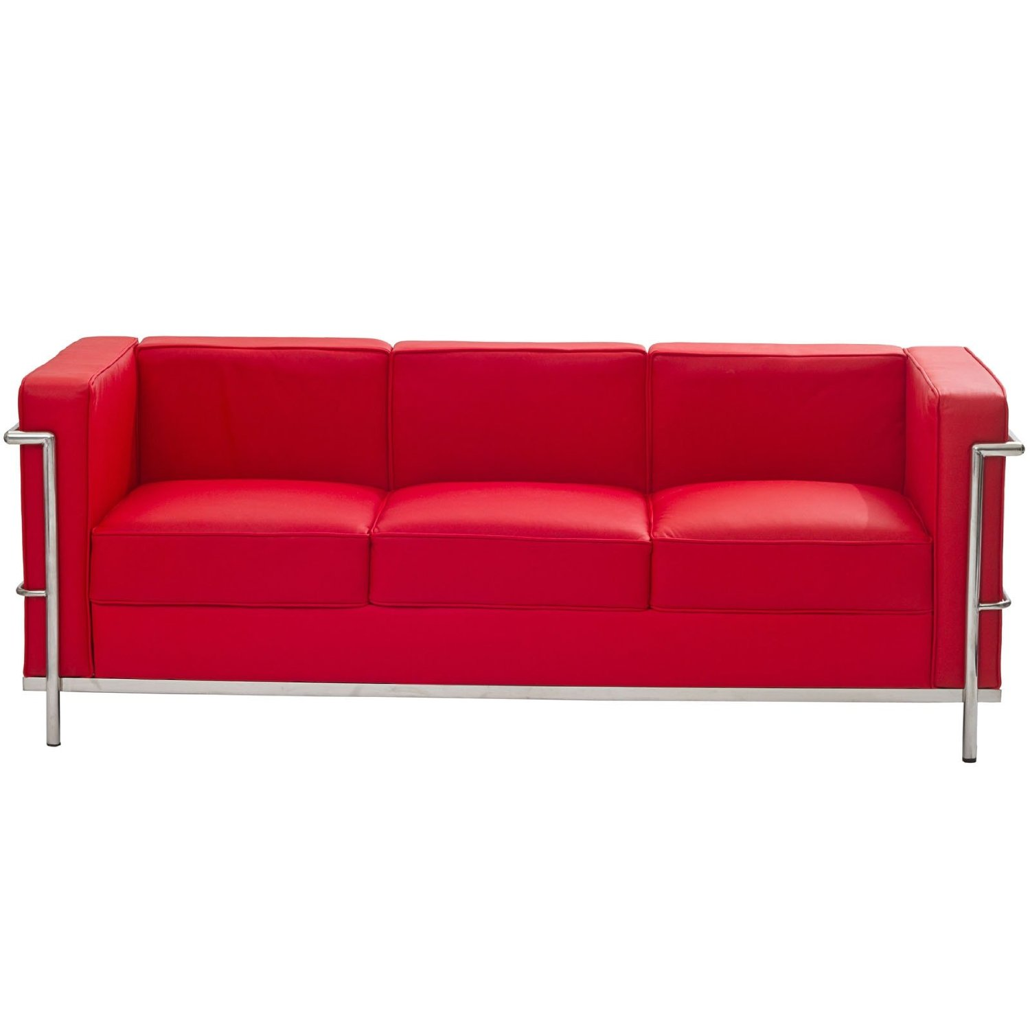 Red leather sofa modern