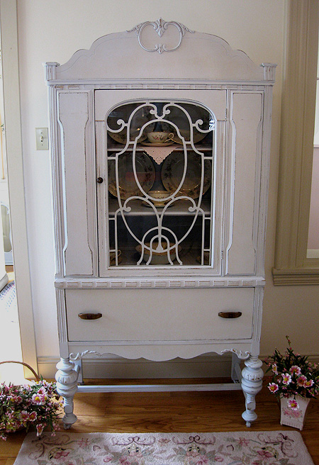 Image of: White antique china cabinet