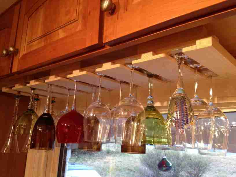 Picture of: awesome under cabinet wine glass rack