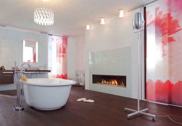 Bathroom With Modern Gas Fireplace
