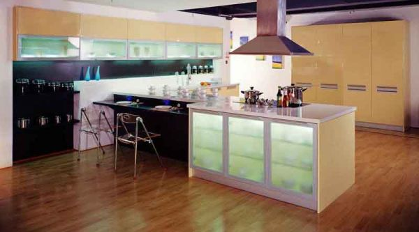 Image of: glass cabinet doors kitchen
