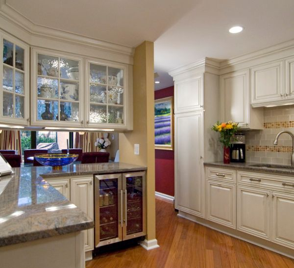 Image of: kitchen glass cabinet doors design