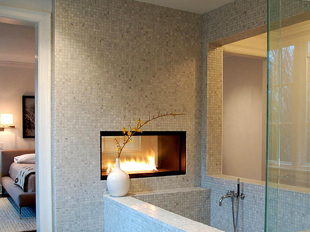 Modern Gas Fireplace Bathtub