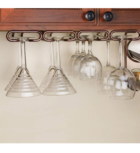 Image of: nice under cabinet wine glass rack