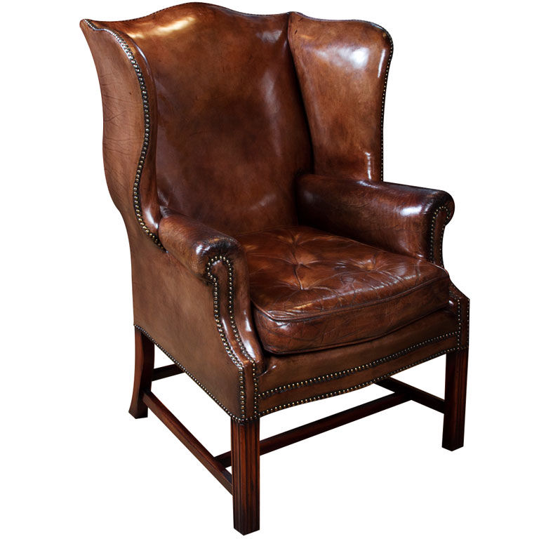 Image of: wing chair brown color