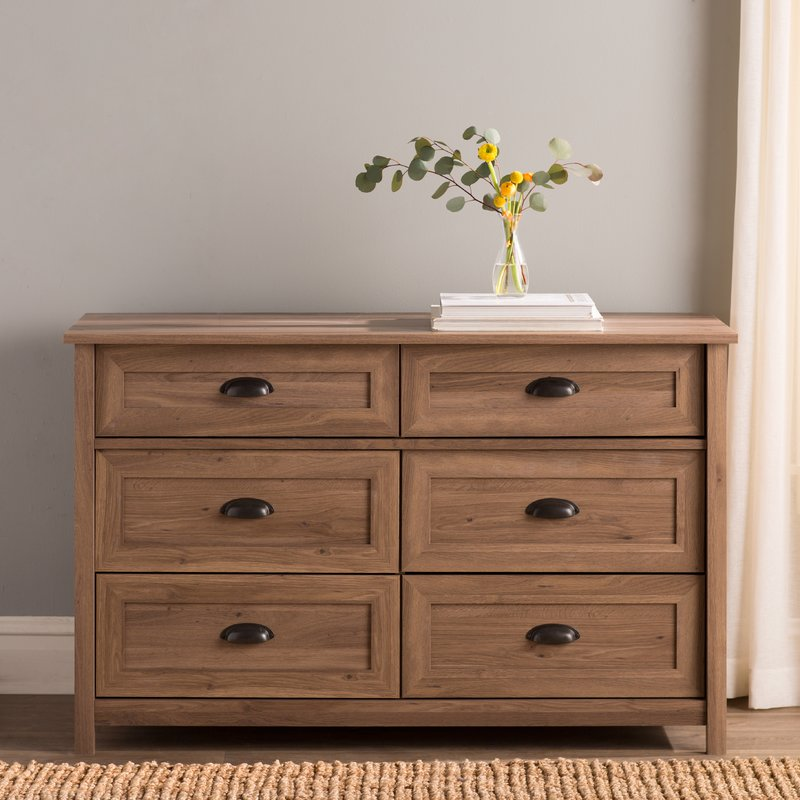 Picture of: 6 Drawer Dresser With Flowers