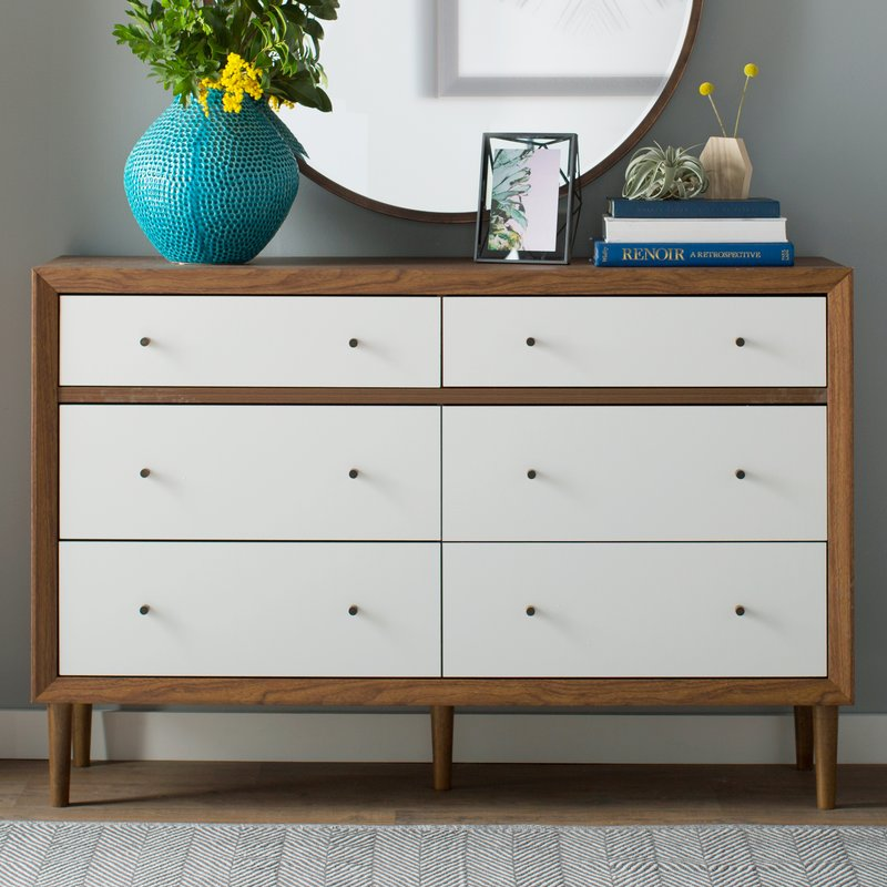6 Drawer Dresser in White Color