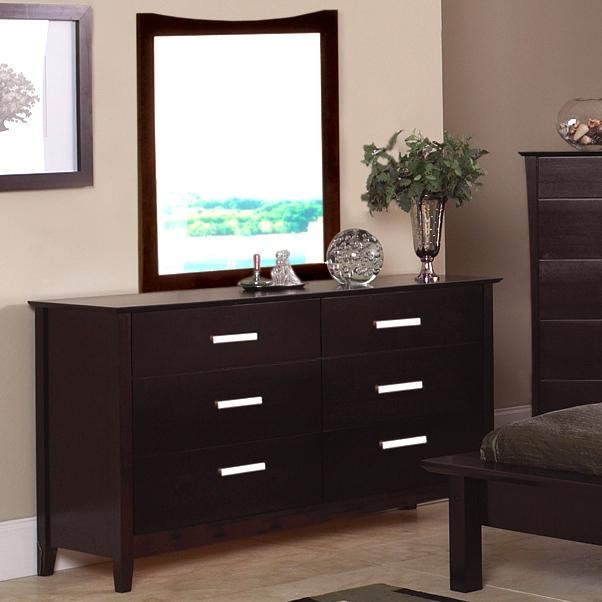 Picture of: 6 Drawer Dressers Espresso with Mirror