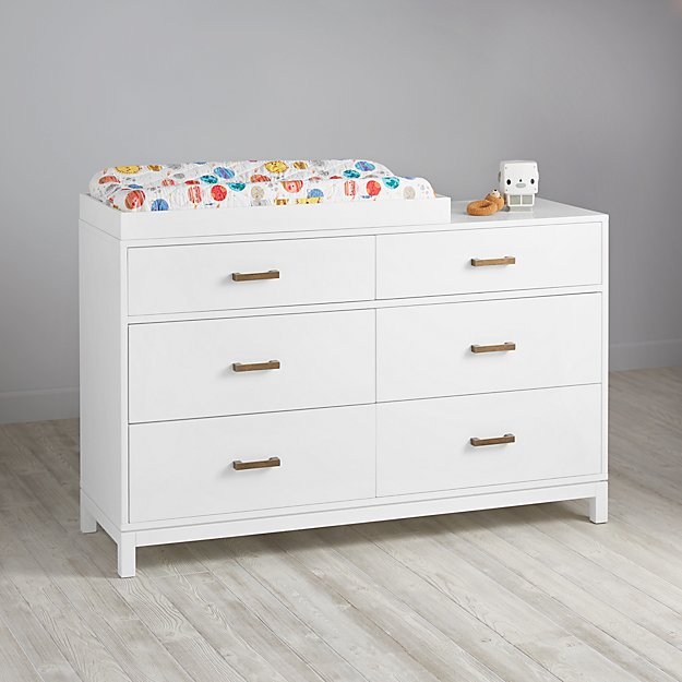 Aurora 6 Drawer White Dresser