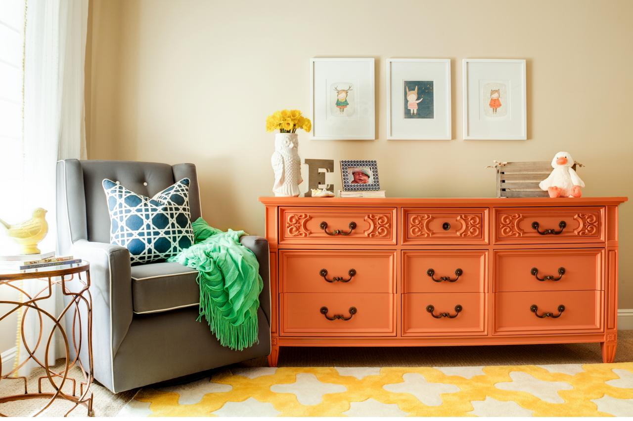 Baby Crib With Orange Changing Table