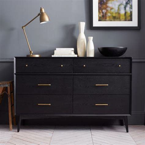Picture of: Black 6 Drawer Small Dresser