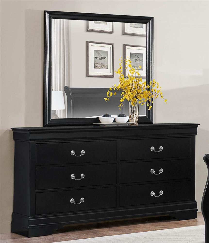 Black Design Dresser Mirror Set