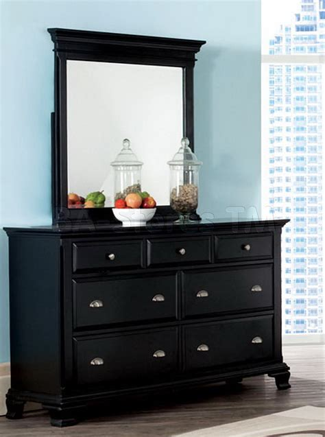 Black Dresser Mirror Set