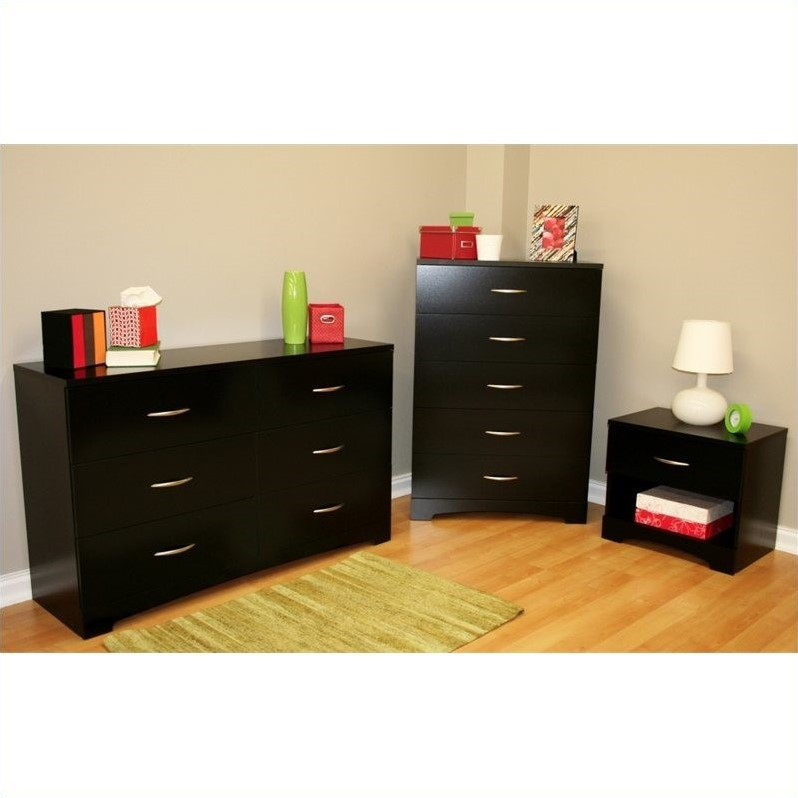 Picture of: Black Dresser and Nightstand Nice Set