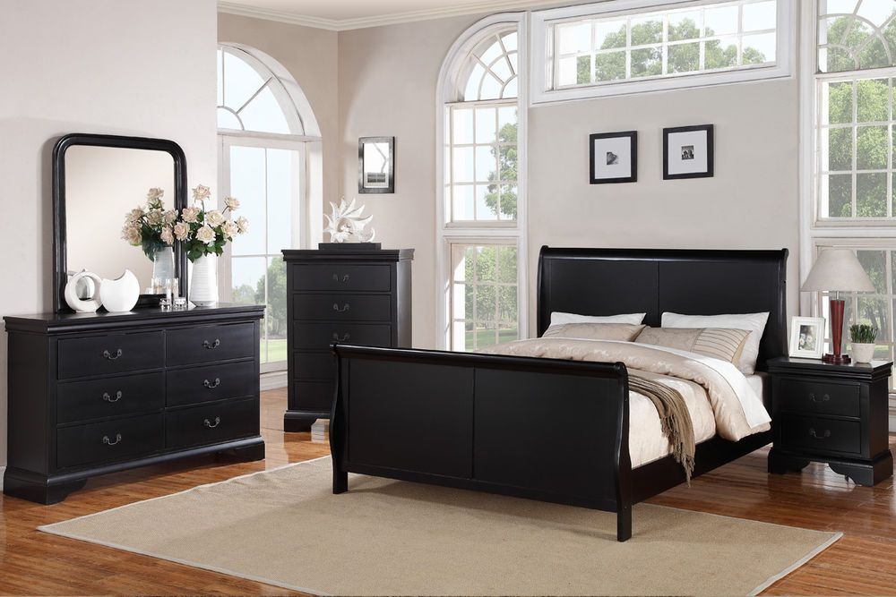 Picture of: Black Dresser and Nightstand Set Bedroom