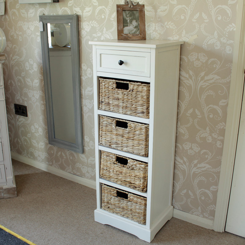 Picture of: Chest With Wicker Basket Drawers Tall