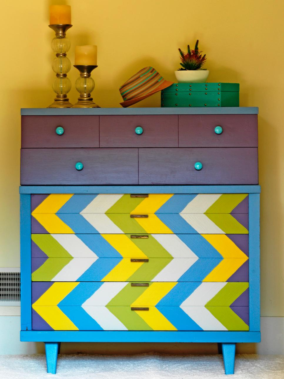 Picture of: Chevron Painted Dresser