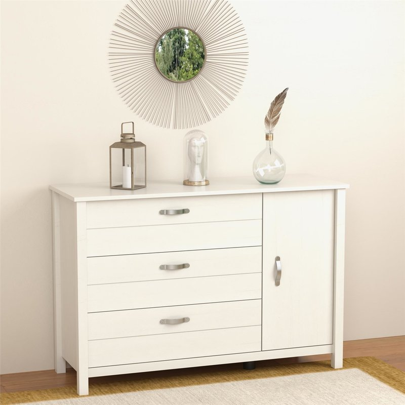 Picture of: Clean White 3 Drawer Dresser