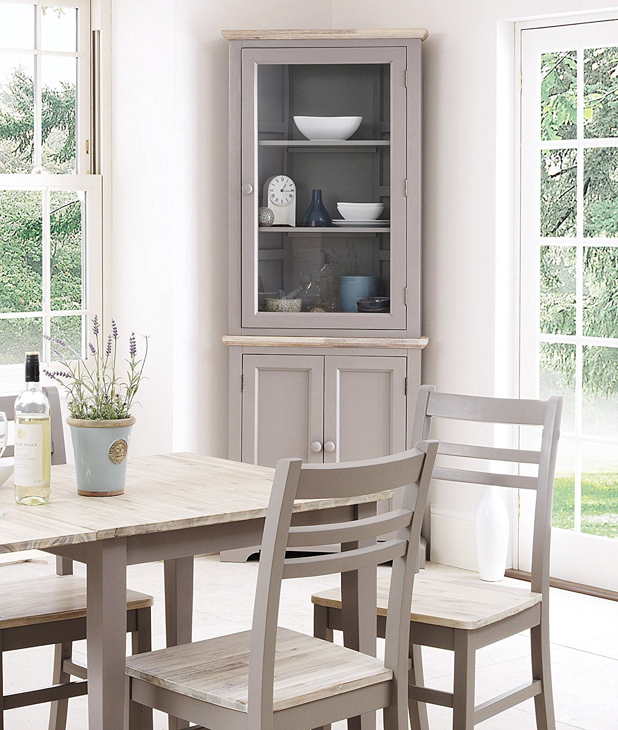 Picture of: Corner Dresser With Glass Door