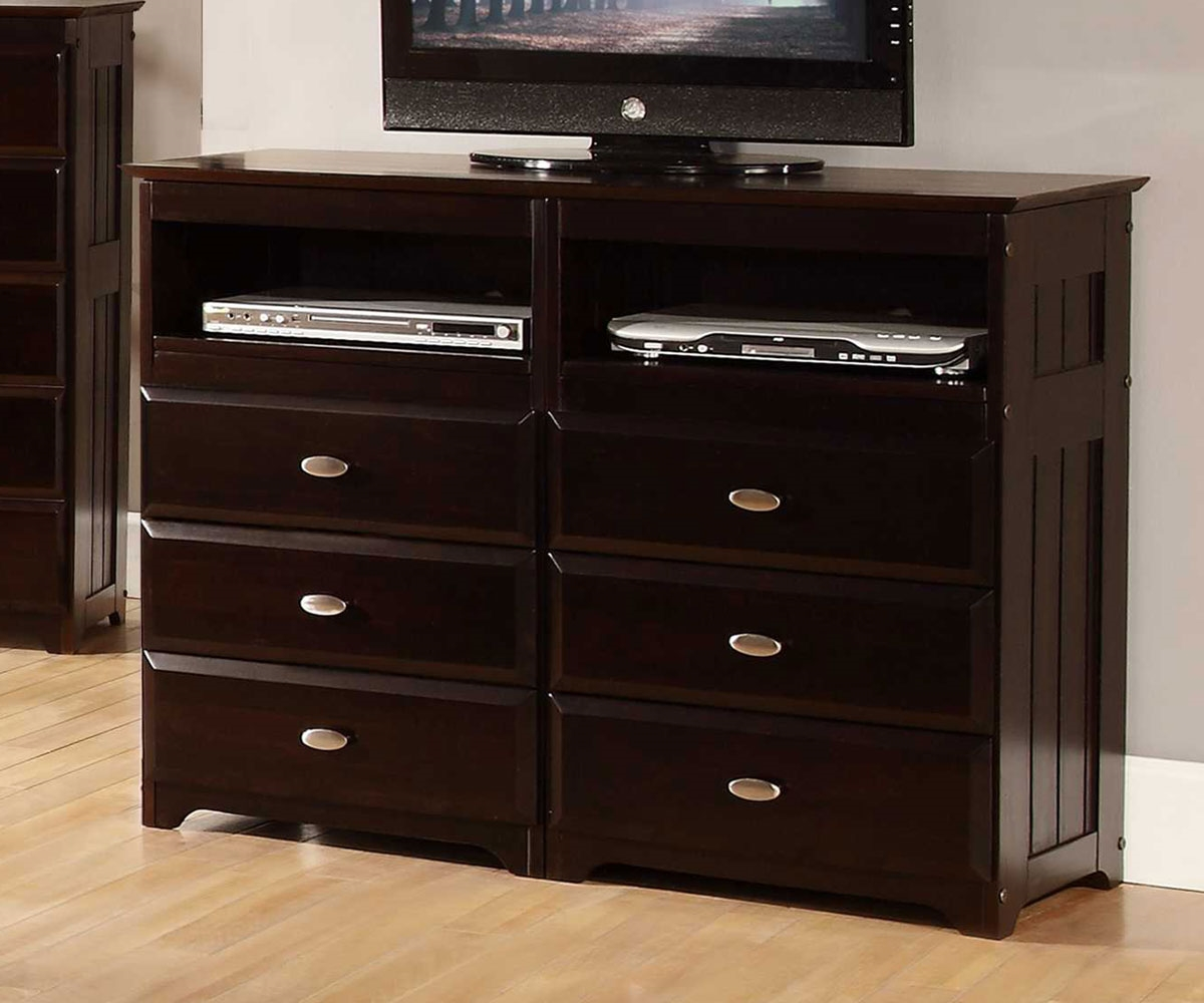 Picture of: Dark Brown Wood Dresser TV Stand