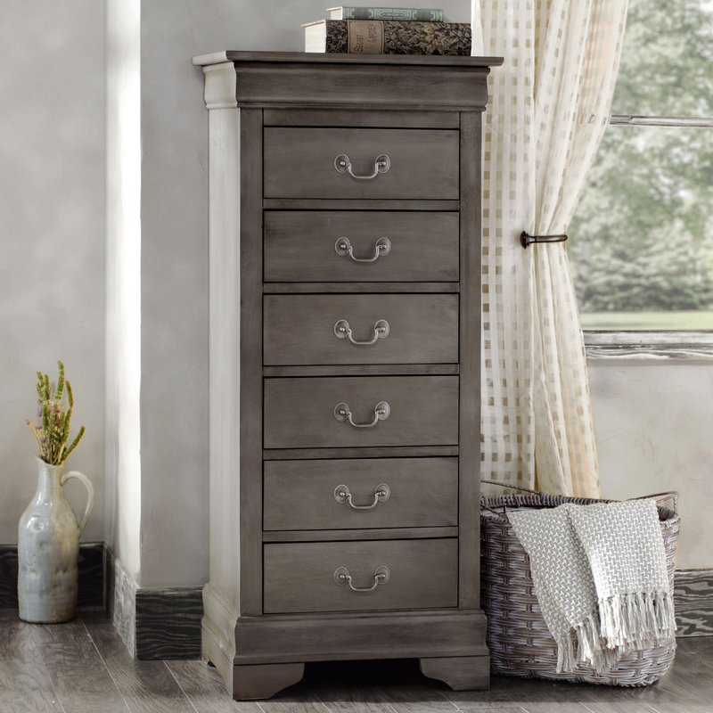 Image of: Distressed Dresser Tall Gray
