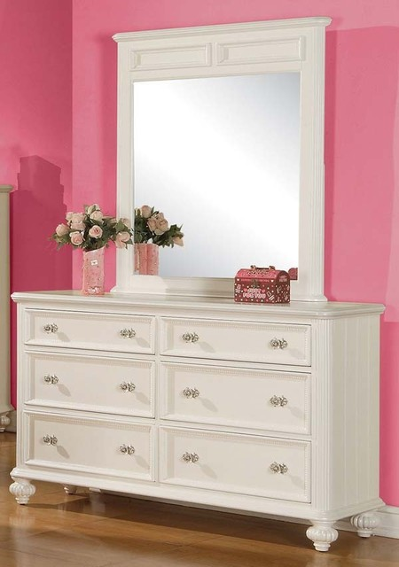 Dresser White and Mirror Set