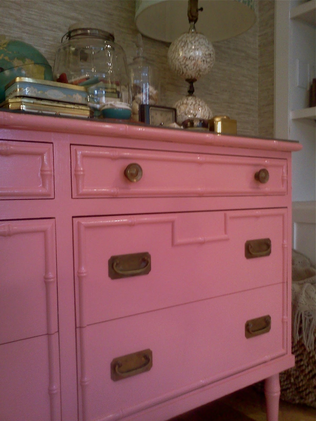 Image of: Faux Bamboo Chest Of Drawers Pink