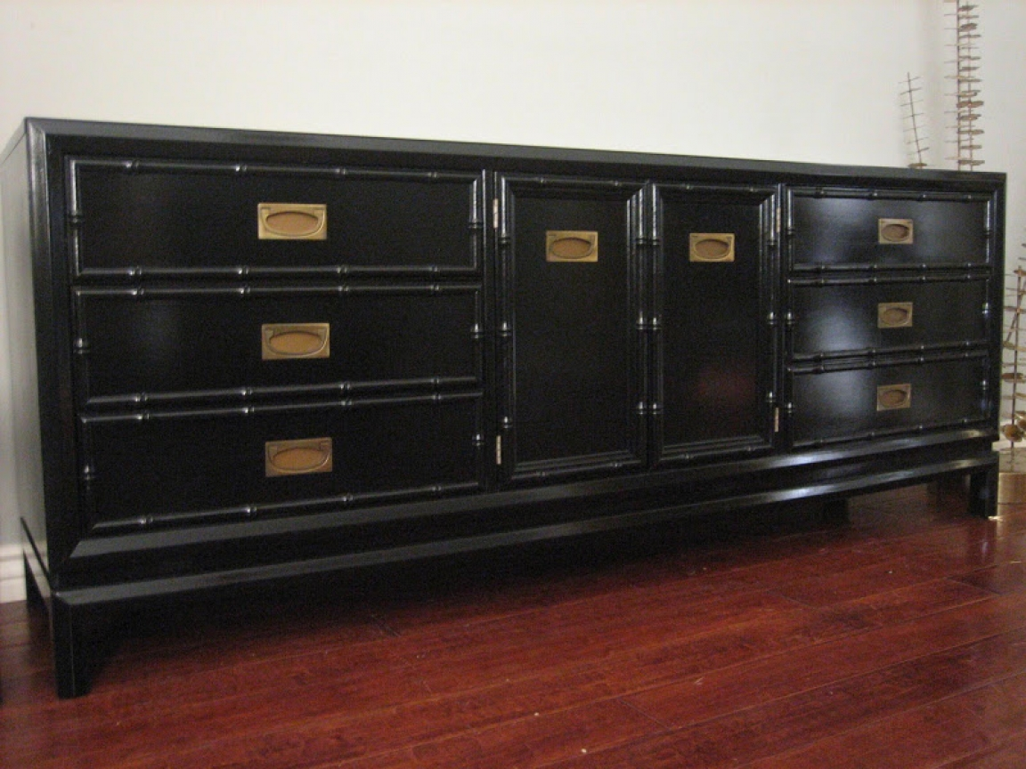 Faux Bamboo Chests Furniture Black