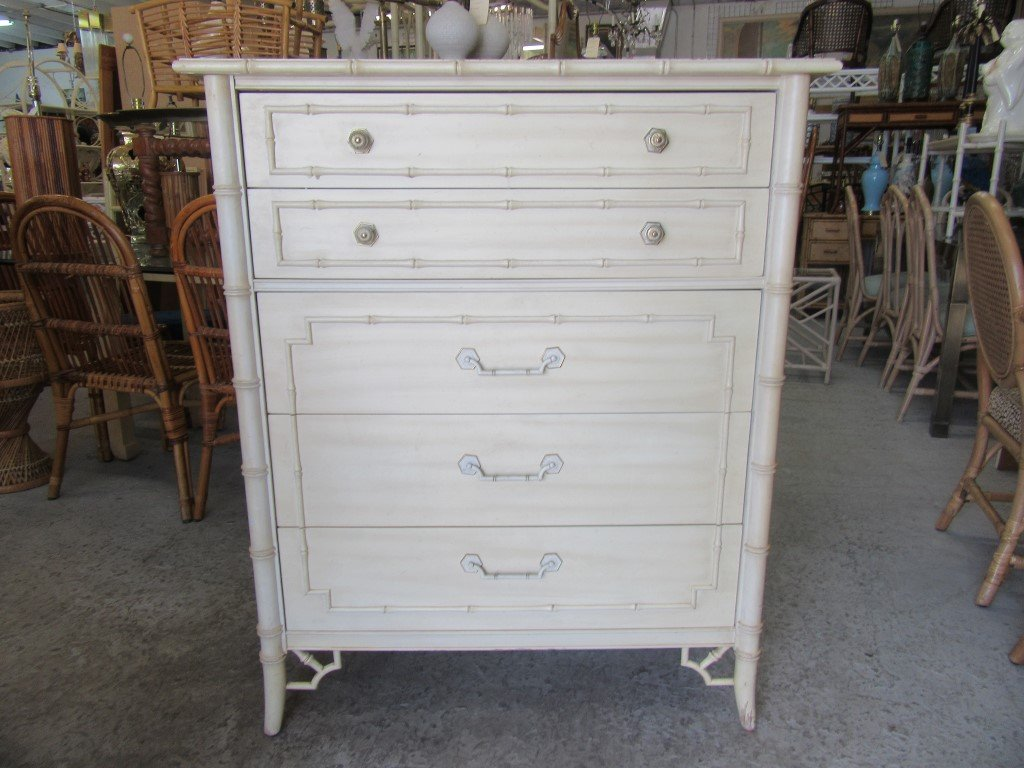 Image of: Faux Bamboo Dresser White
