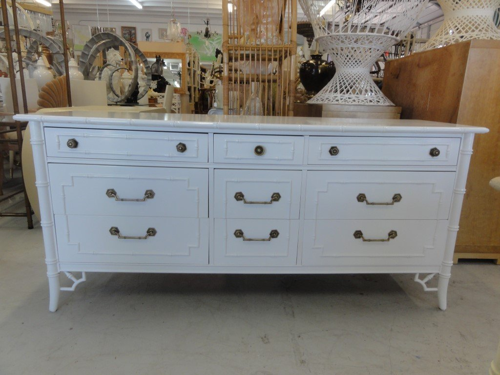 Image of: Faux Bamboo Style Dresser White