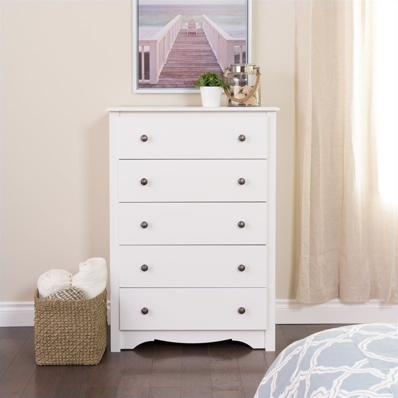Image of: Five Drawer White Dresser